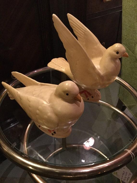 Rare Haeger Pair of Ceramic Doves
