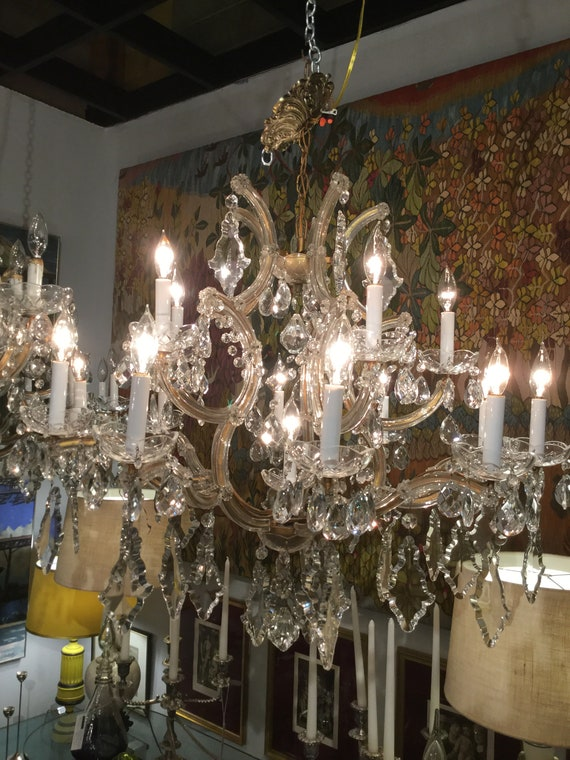 SOLD - Ca.1900s Monumental  Maria Therese Italian Chandelier Large Hand Cut crystals with 16 Lights  Bobeche with Crystals