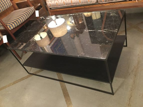 Ca. 1970s Black Glossy Marble with Steel Powder Coated Black Frame with Lower Shelf table by Alberto Minotti