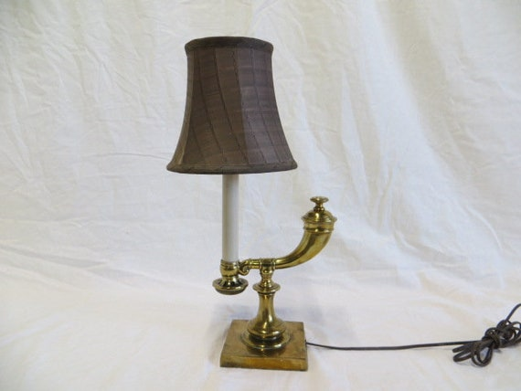 Converted Solid Brass Oil Lantern Lamp with Glass Stem