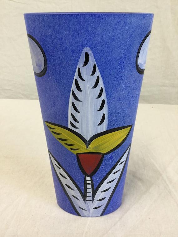 SOLD - Signed Ulrica Hydman-Valien Kosta Boda Vase HandPainted floral design