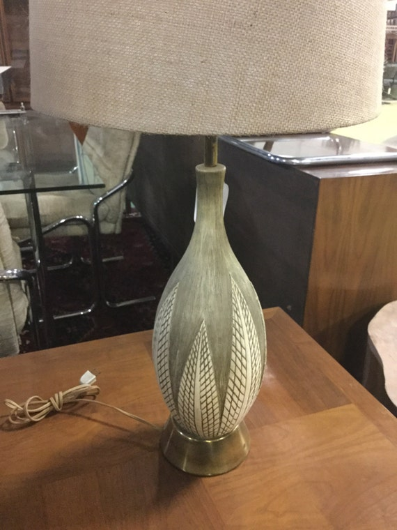 SOLD - Mid Century Ceramic Lamp on a brass base with New Shade