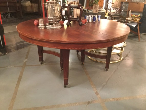 SOLD - Ca 1890  Solid Mahogany 65 inches Round Center or Dining Table