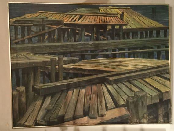SOLD: 50W X 38L Dock Scene signed Stevens