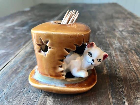 Vintage Cat kitsch en chapeau haut de forme cure-dents