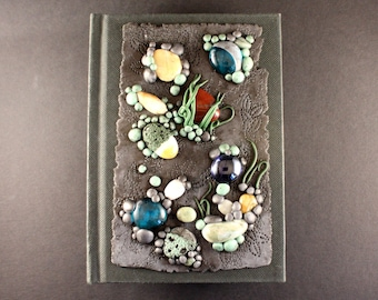 Polymer clay journal - polymer clay notebook - handmade stationary, journal, grey stationary journal - unique journals, nature style journal