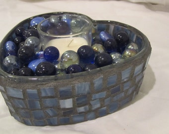 Blue Heart Mosaic Candle Holder