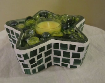Green Star Mosaic Candle Holder