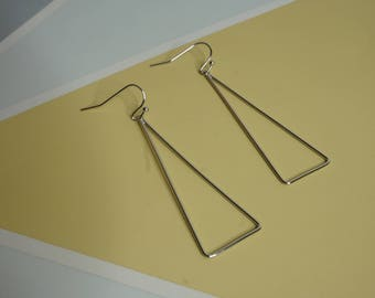 Silver triangle drop hoops