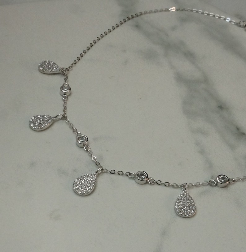 Sterling silver micro pave teardrop collar necklace