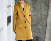 Women's coat, Cotton coat, long coat, jacket, Yellow jacket, viscose, summer coat, spring coat, long mustard coat, minimalist coat, durable