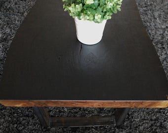 Live Edge Coffee Table- Charred Black Walnut-Steel U-shaped or Hairpin legs- MADE TO ORDER