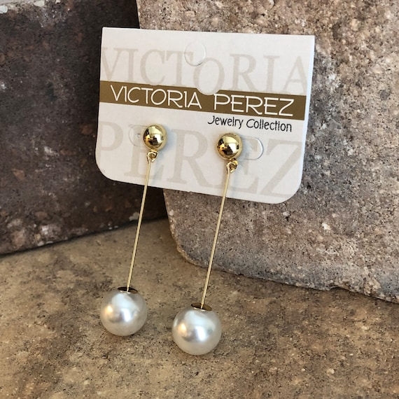 14K Rose Plated Victoria Perez Jewelry Collection Hoop Earrings Mid Size