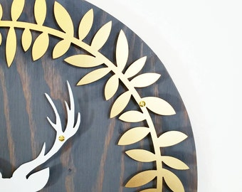 Gold wreath white stag grey wood