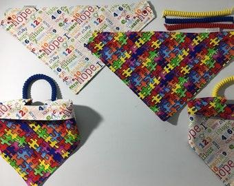 Autism awareness pet bandana, reversible dog scarf, sizes XS-XL, no tie, no collar, pet scarf, dog bandana, pet attire, pet clothing