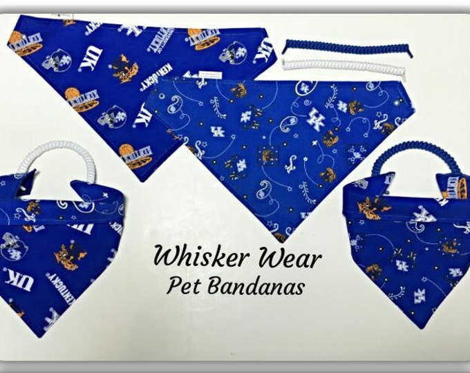 Kentucky fabric, reversible custom pet bandana, no-tie method, dog scarf, dog bandana, college football, pet clothes