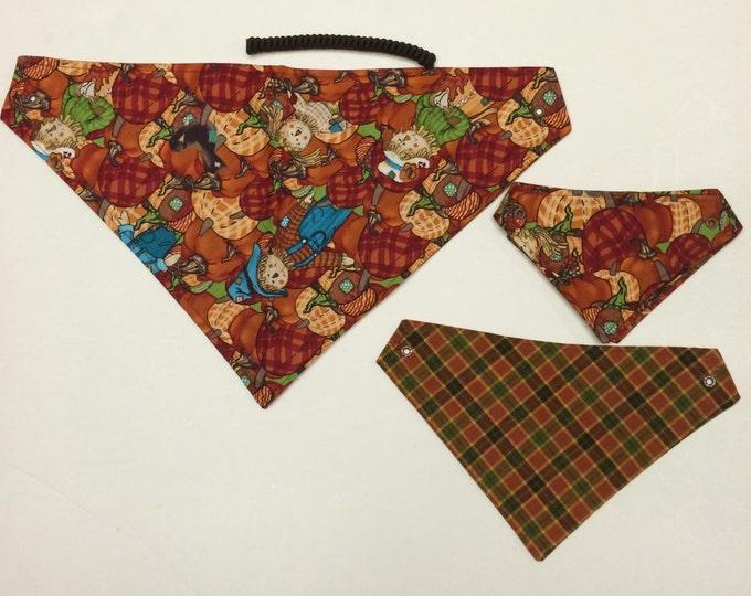 Scarecrow Festival, reversible pet bandana, sizes XS-XL, dog bandana, fall pet bandanas, dog scarf, pet wear