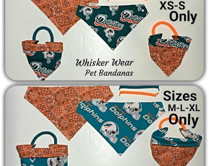 Miami football fabric, reversible custom pet bandana, sizes XL-XS, dog bandana, pet scarf, pet clothes, pet attire, dog scarf
