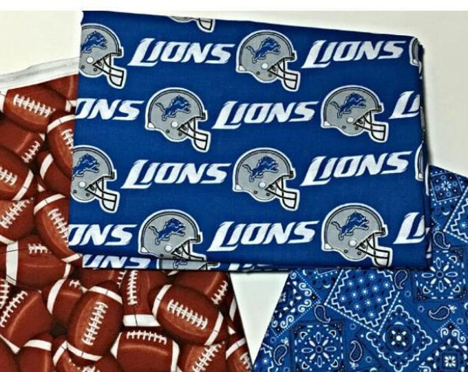 Detroit football fabric, reversible custom pet bandana, dog bandana, pet scarf, dog bandana, pet clothes, Michigan, pet attire, Detroit