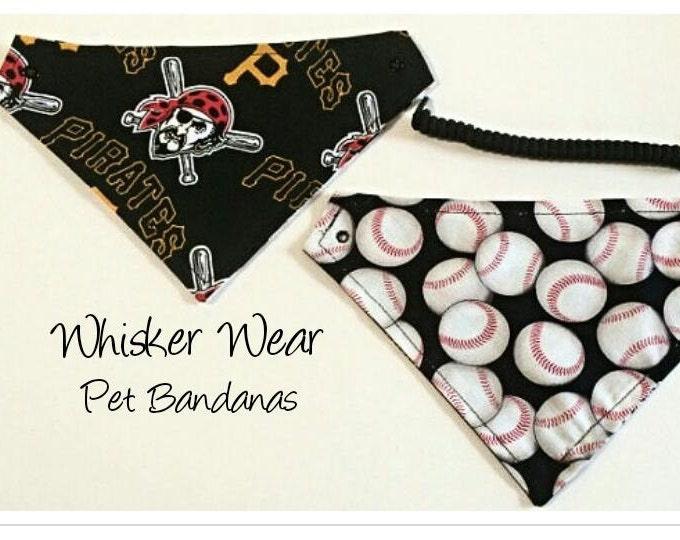 Pittsburg baseball fabric, reversible custom pet bandana, dog scarf, pet scarf, dog bandana, pet clothing, pet attire, baseball bandana