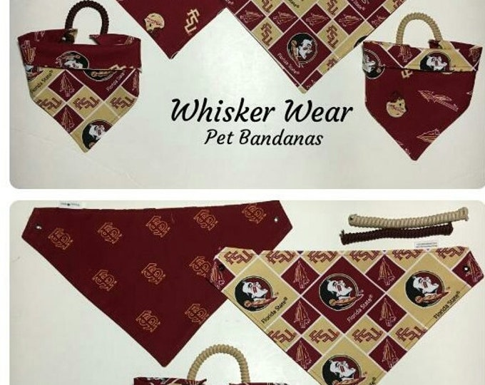 florida football fabric, reversible custom pet bandana, no tie, dog bandana, dog scarf, pet scarf, college football, seminoles, pet clothing
