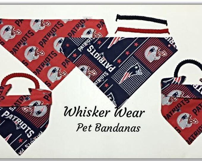 New England football fabric~ custom dog bandanas~reversible pet bandana~All sizes XS-XL breeds~no tie~ no collar~easy dressing~pet scarf~