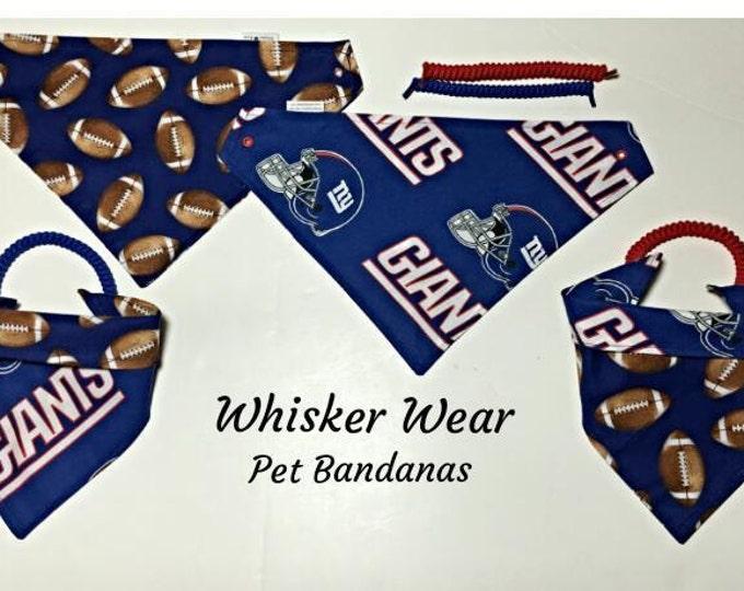 New York football fabric, reversible custom pet bandana, sizes XS-XL, dog scarf, dog bandana, pet scarf, pet clothing, pet attire