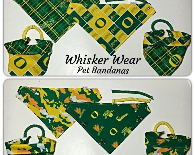 Oregon football fabric, reversible custom pet bandana, no-tie no collar method, dog scarf, dog bandana, pet scarf, college football