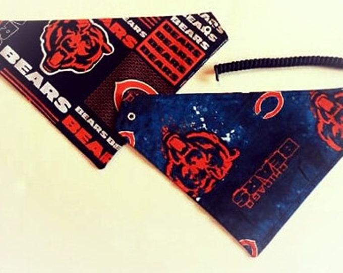 Chicago football fabric, reversible custom pet bandana, Sizes XS-XL, no tie, no collar, dog scarf, pet scarf, dog bandana, pet clothing