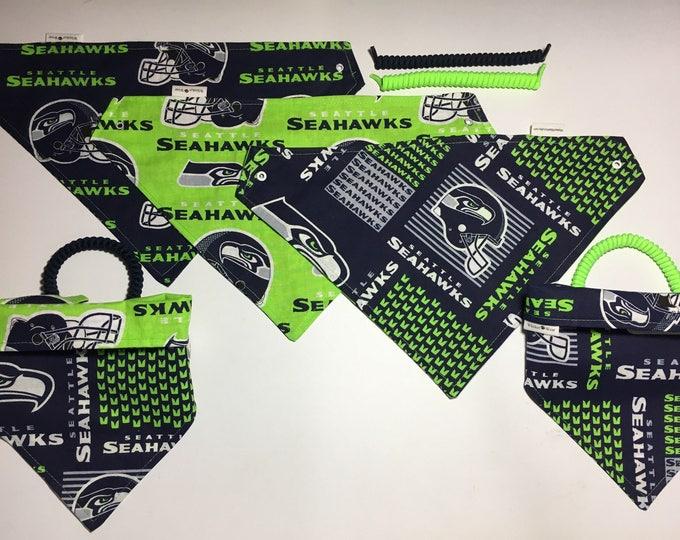 Seattle football fabric, reversible custom pet bandana, sizes XS-XL dog scarf, dog bandana, pet scarf, pet clothing, pet attire