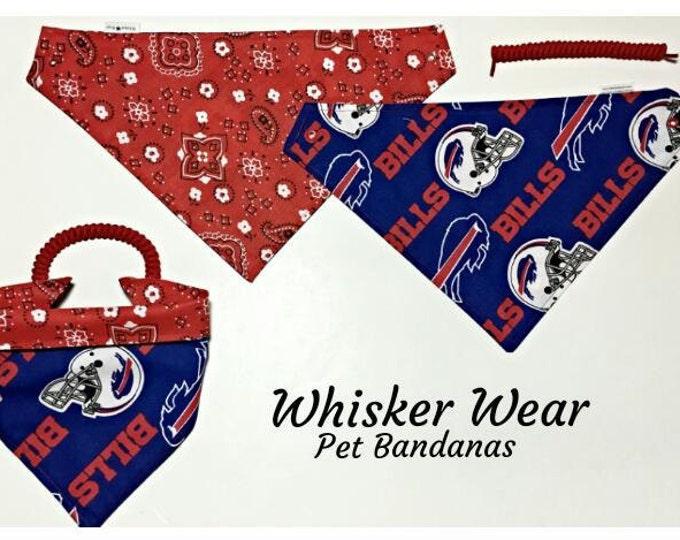 Buffalo football fabric, reversible custom pet bandanas, sizes XS-XL, no-tie, no-collar, dog scarf, dog bandana, pet wear, pet scarf