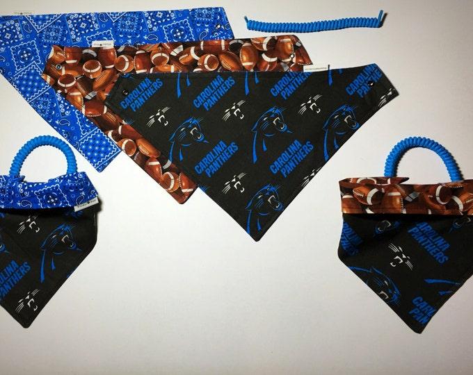 carolina football fabric , reversible custom pet bandana, sizes XS-XL, no -tie, no-collar, pet scarf, pet attire, dog bandana, dog scarf