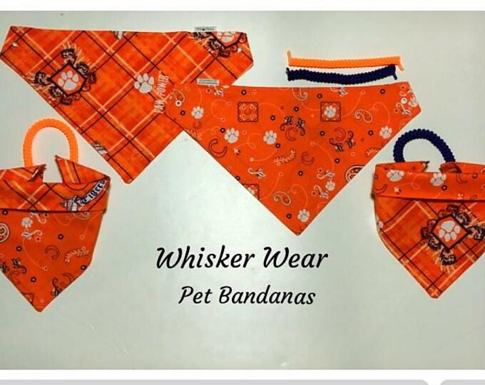 south carolina football fabric, reversible custom pet bandana, no-tie, dog scarf, dog bandana, pet scarf, pet clothes, college football