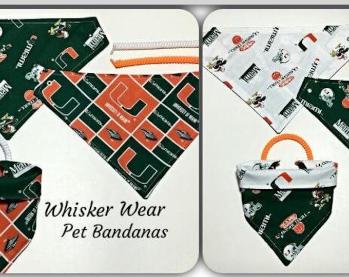 Miami football fabric, reversible custom pet bandana, dog scarf, dog bandana, pet scarf, college football, pet clothing