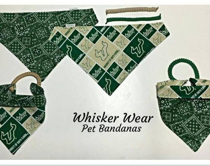 South Florida football fabric, reversible custom pet bandanas, dog bandana, dog scarf, pet scarf, college football, pet clothing