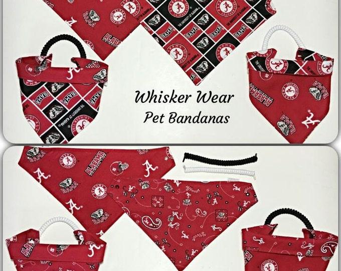 Alabama football fabric, reversible custom pet bandana, no tie, dog scarf, dog bandana, pet scarf, bama, college football, pet clothing
