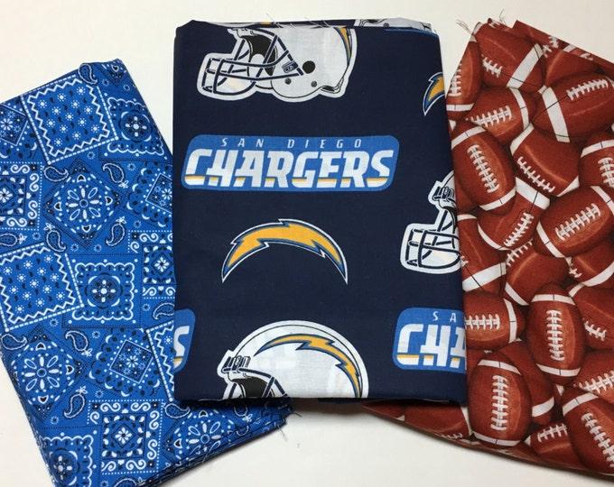 San Diego football fabric, reversible custom pet bandana, sizes XS-XL, dog bandana, pet scarf, dog bandana, pet clothes, pet attire
