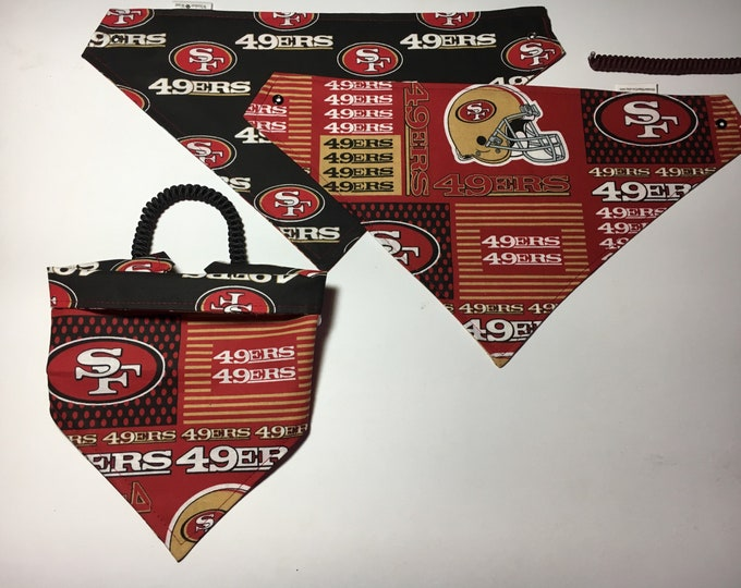 San Francisco football fabric, reversible custom pet bandana, sizes XS-XL, dog bandana, pet scarf, dog scarf, pet clothing, football