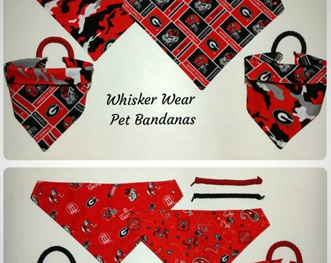 Georgia football fabric, reversible custom pet bandana, dog scarfs, dog bandanas, pet scarf, college football, pet clothe