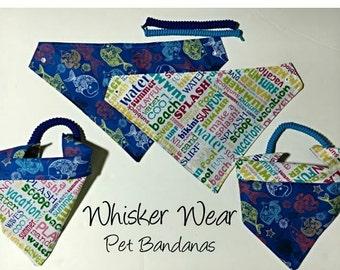nautical wear, reversible dog scarf, dog bandana, pet scarf, pet bandana, pet attire, pet clothing,summer, reversible, anchor, fish