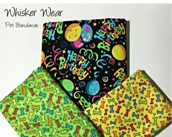 birthday pet bandana, reversible dog scarf, sizes XS-XL, no tie, no collar, pet scarf, dog bandana, pet attire, pet clothing, celebration