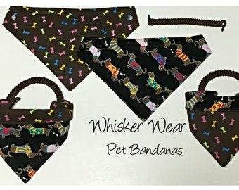 canine corner dog breeds, reversible dog scarf, dog bandana, pet scarf, pet bandana, pet attire, pet clothing, reversible, dachsund,