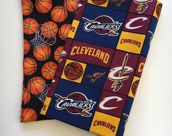 cleveland basketball fabric, reversible custom pet bandana, pet scarf, dog bandana, pet clothing, pet scarf, pet attire, basketball bandana