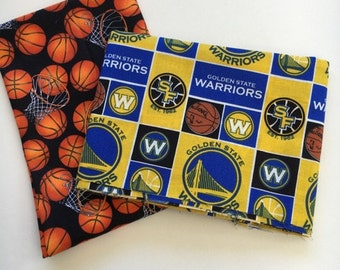 Golden State basketball fabric, reversible custom pet bandana, pet scarf, dog bandana, pet clothing, pet attire, dog scarf