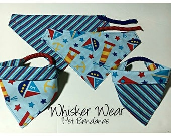 nautical wear, reversible dog scarf, dog bandana, pet scarf, pet bandana, pet attire, pet clothing,summer, reversible, boats, lighthouses