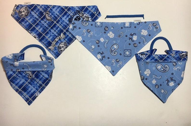 pet clothes custom pet wear reversible pet bandana college football North Carolina fabric dog scarf dog bandana