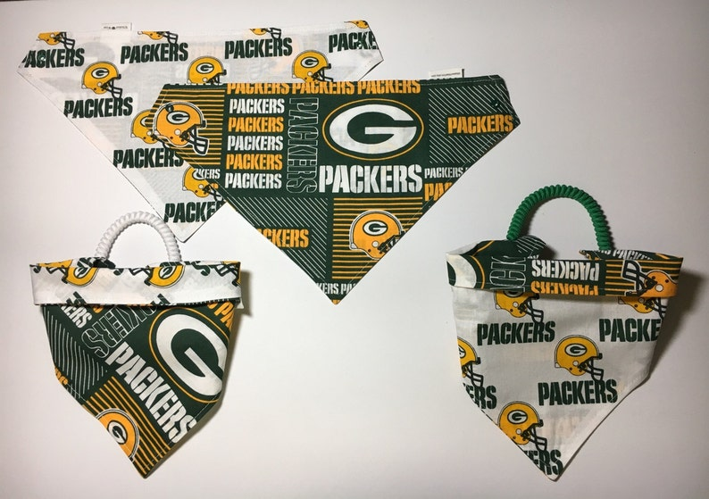 dog scarf pet clothes, pet gear dog bandana Green Bay football fabric reversible custom pet bandana pet scarf sizes XS-XL