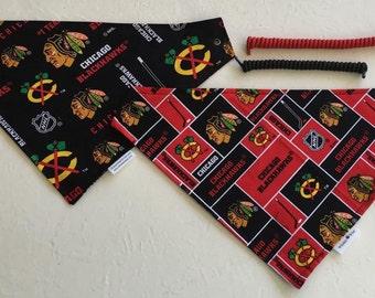 Chicago hockey fabric, reversible custom hockey pet bandana, size XS-XL,  pet scarf, dog bandana, dog scarf , pet clothing, pet wear