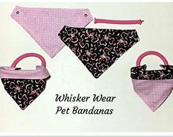 reversible~ pet bandana~ pet scarf~ 2 in 1 pet wear~ breast cancer awareness~ knotty girl~ pink power~ pet wear~pet clothes, 100% donation
