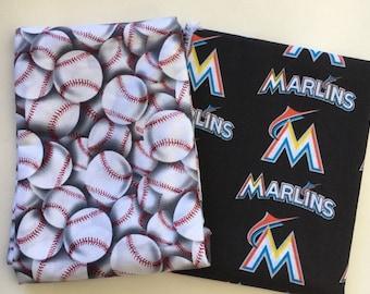 miami baseball fabric, reversible custom pet bandana, dog scarf, pet scarf, dog bandana, pet clothing, pet attire, baseball bandana
